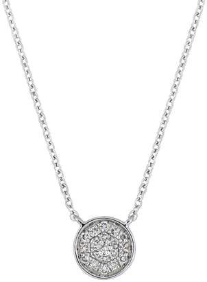 Carriere Sterling Silver Pave Diamond Circle Pendant Necklace - 0.06 ctw