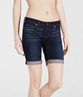 Dark Wash Cuffed Denim Bermuda Shorts***