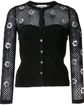 Moschino flower embellished fishnet top - women - Polyamide/Rayon - 40
