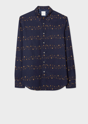 Paul Smith Men's Tailored-Fit Navy 'Safety Pins' Print Shirt