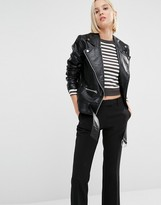 Cheap Monday Punch Leather Look Oversized Biker Jacket