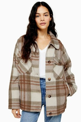 Topshop Check Jacket With Wool