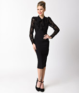Stop Staring 1940s Style Black Lace Long Sleeve Seville Wiggle Dress