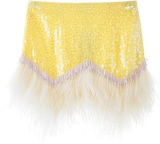 ATTICO Sequin Feather Mini Skirt