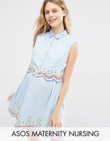 ASOS Maternity - Nursing ASOS Maternity NURSING Embroidered Dress In Chambray