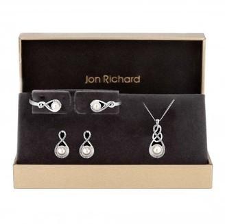 Jon Richard Jewellery Jon Richard Silver Plated Clear Crystal Infinity Set- Gift Boxed