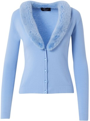 Blumarine Knit Cardigan W/ Detachable Fur Collar