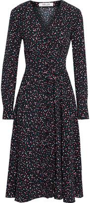 Diane von Furstenberg Peony Pleated Printed Crepe Midi Dress