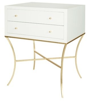 Worlds Away End Table with Storage Color: Gold Leaf