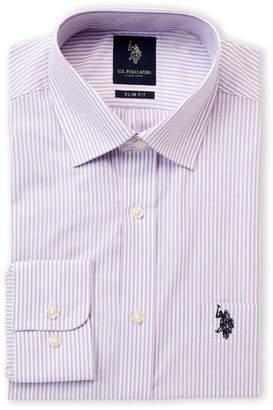 U.S. Polo Assn. Slim Fit Stripe Long Sleeve Dress Shirt