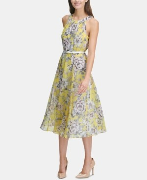 Tommy Hilfiger Printed Belted Halter Midi Dress