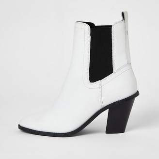River Island White leather western high heeled boot