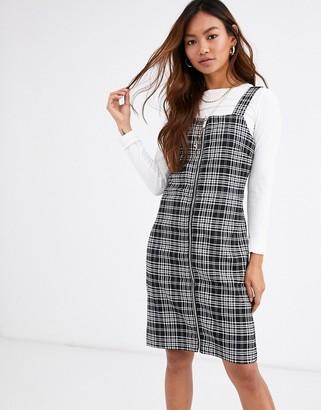Pimkie zip front check mini dress in grey