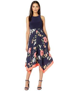 Vince Camuto Printed Crepe De Chine Twofer Midi with Jersey Bodice (Navy Multi) Women's Clothing