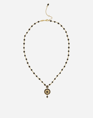 Dolce & Gabbana Necklace With Black Jade And Sapphire Pendant
