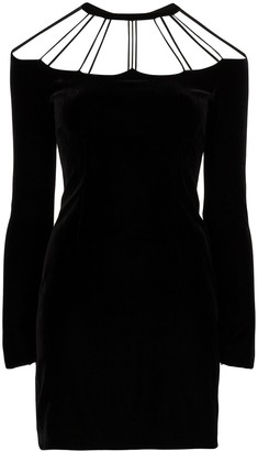 Alessandra Rich Bow-Embellished Cutout Mini Dress