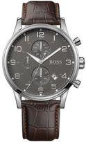 HUGO BOSS Men's Brown Leather Strap Watch