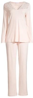 Hanro Moments Two-Piece Lace & Cotton Pajama Set