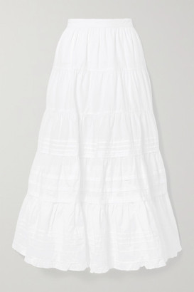 Ulla Johnson Sylvie Ruffle-trimmed Tiered Cotton-poplin Midi Skirt - White