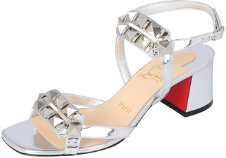 Christian Louboutin Silver Patent Leather Galerietta Block Heel Sandals Size 37