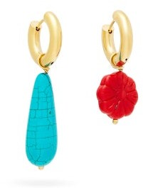 Timeless Pearly Mismatched Turquoise & Gold-plated Hoop Earrings - Womens - Blue Multi