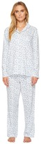 Eileen West Cotton Jersey Notch Collar Long Pajamas Women's Pajama Sets