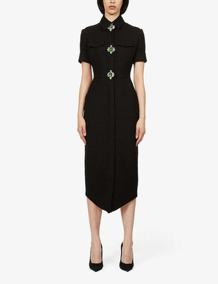 David Koma Jewel-embellished wool-blend maxi dress