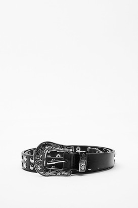 Nasty Gal Womens Stud For You Faux Leather Western Belt - Black