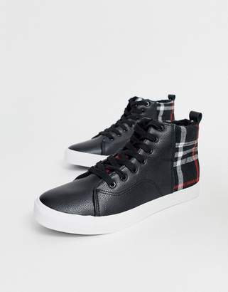 Brave Soul high top trainers with checked panels-Black