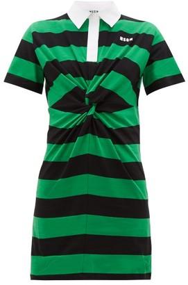 MSGM Striped Tie-front Cotton-jersey Shirtdress - Womens - Black Green