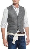 Brunello Cucinelli Flannel Wool Waistcoat, Gray