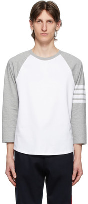 Thom Browne Grey and White 4-Bar Baseball T-Shirt