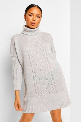boohoo Roll Neck Cable Jumper Dress