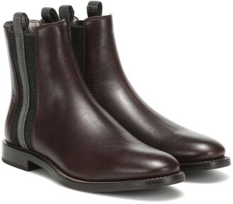 Brunello Cucinelli Embellished leather ankle boots