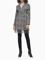Wool Blend Plaid Belted Fringe Coat