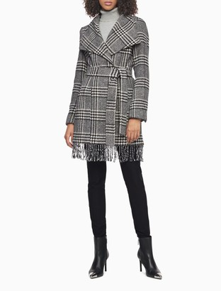 Calvin Klein Wool Blend Plaid Belted Fringe Coat
