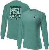 Unbranded Women's Aqua Michigan State Spartans Comfort Colors Pattern Block Oversized Long Sleeve T-Shirt