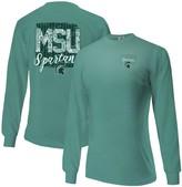 Women's Aqua Michigan State Spartans Comfort Colors Pattern Block Oversized Long Sleeve T-Shirt