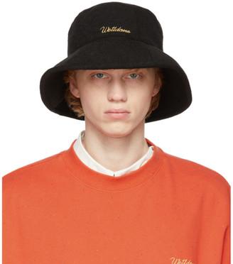 we11done Black Big Brim Bucket Hat