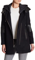 Andrew Marc Genuine Leather Trim Wool Blend Corey Coat