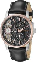 Fossil Men's ME1099 Leather Strap Textured Cutaway Analog Dial Chronograph Watch