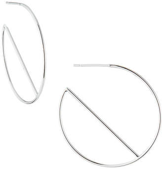 Lana 14k White Gold Eclipse Wire Hoop Earrings