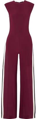 Norma Kamali Striped Stretch-jersey Jumpsuit - Plum
