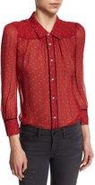 Frame Peasant Polka Dot-Print Blouse, Crimson