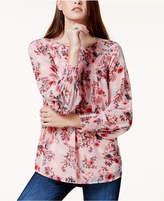 Kensie Smocked Floral-Print Top