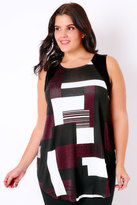 Yours Clothing Black, White & Burgundy Colour Block Sleeveless Top With Curved Hem