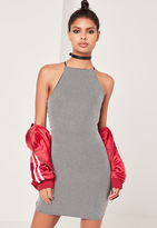 Missguided Metallic Rib Bodycon Dress Silver