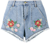 House of Holland x Lee flower embroidered denim shorts