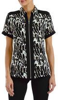 Haggar Petite Short Sleeve Printed Zip Front Shirt