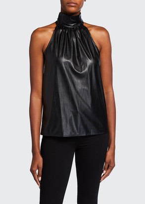 Ramy Brook Pam Faux-Leather High-Neck Top